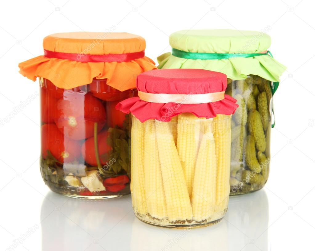 Jars with canned vegetables isolated on white — Stock Photo #12896863