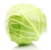 Whole green cabbage isolated on white — Stock Photo