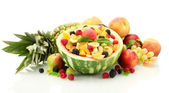 Fresh fruits salad in watermelon, fruits and berries, isolated on white — Stock Photo