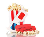 Popcorn with glasses and tickets isolated on white — Stock Photo