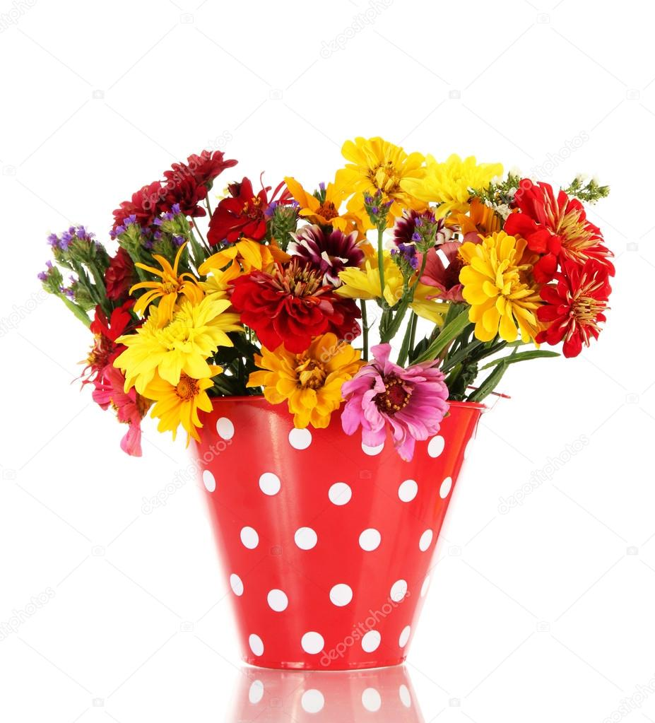 Bouquet of beautiful summer flowers in bucket, isolated on ...