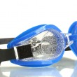 Blue swim goggles with drops isolated on white — Stock Photo #13196694