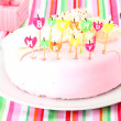 Sweet birthday with candles cake on plate — Stock Photo #13197578
