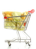Fresh corn in trolley, isolated on white — Stock Photo