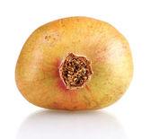 Unripe pomegranate isolated on white — Stock Photo