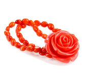 Beautiful peach-colored bracelet with rose isolated on white — Stock Photo