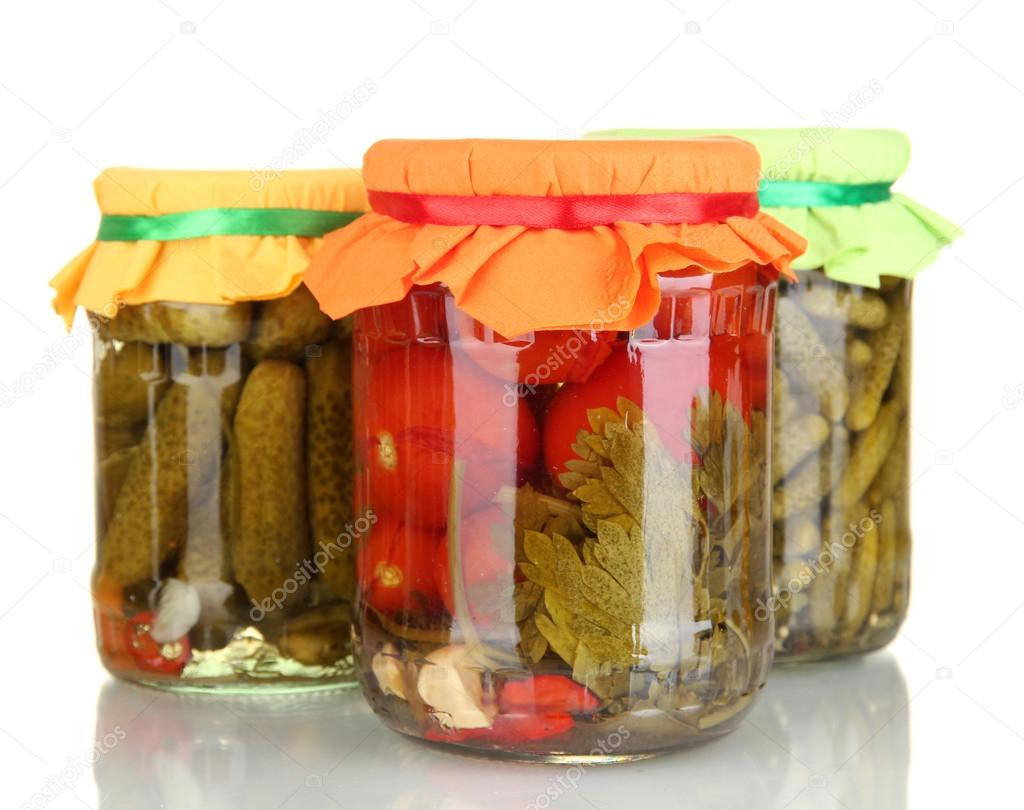 Jars with canned vegetables isolated on white — Stock Photo #13196721
