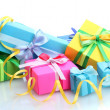 Bright gifts with bows isolated on white — Stock Photo #13205627