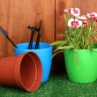 Gardening tools on wooden background - ストック写真