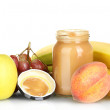Jar with fruit baby food and fruits isolated on white — Stock Photo #13209120