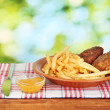 Potatoes fries with burgers on the plate on green background close-up — Stock Photo