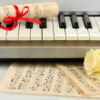 Background of piano keyboard — 图库照片