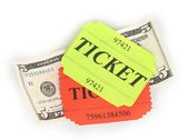 Colorful tickets with money isolated on white — Stockfoto