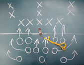 American football plan on blackboard — Stock Photo