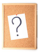 White note with question mark on cork board — Stock Photo