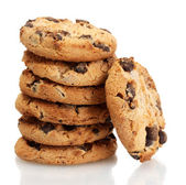 Chocolate chips cookies isolados no branco — Foto Stock