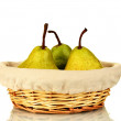 Ripe pears in wicker basket isolated on white — Stock Photo #13210072