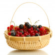 Ripe berries in basket isolated on white — Stock Photo #13210159