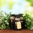 Essential oil and mint on green background close-up — Stock Photo #13210934