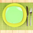 Table setting on wooden background close-up — Stock Photo