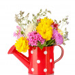 Stock Photo: Red watering cwith white polka-dot with flowers isolated on white
