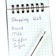 Royalty-Free Stock Photo: Shopping list in a notebook on white background close-up