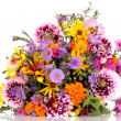 Beautiful bouquet of bright flowers isolated on white — Stock Photo #13212727