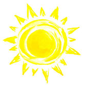 Sun painting on white background — Stock Photo