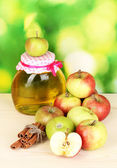 Honey and apples with cinnamon on wooden table on natural background — Stock Photo