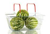 Reife Wassermelone in Metallausführung, isoliert auf weiss — Stockfoto