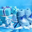 Stock Photo: Beautiful gifts and baby