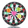 Darts with stickers depicting the life values isolated on white. The darts — Stock Photo #13322379