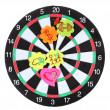 Darts with stickers depicting the life values isolated on white. The darts — Stock Photo #13322383