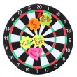 Darts with stickers depicting the life values isolated on white. The darts — Stock Photo