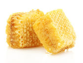 Golden honeycombs isolated on white — 图库照片