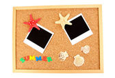 Cork board with commemorative notes — Stock Photo