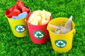 Recycling bins on green grass — Stock Photo