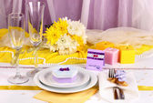 Serving fabulous wedding table in blue color on blue and white fabric background — 图库照片