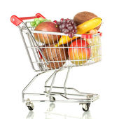 Fruit in a metal trolley isolated on white — Stock Photo