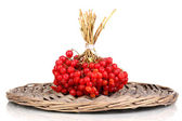 Red berries of viburnum on wicker mat isolated on white — Stock Photo