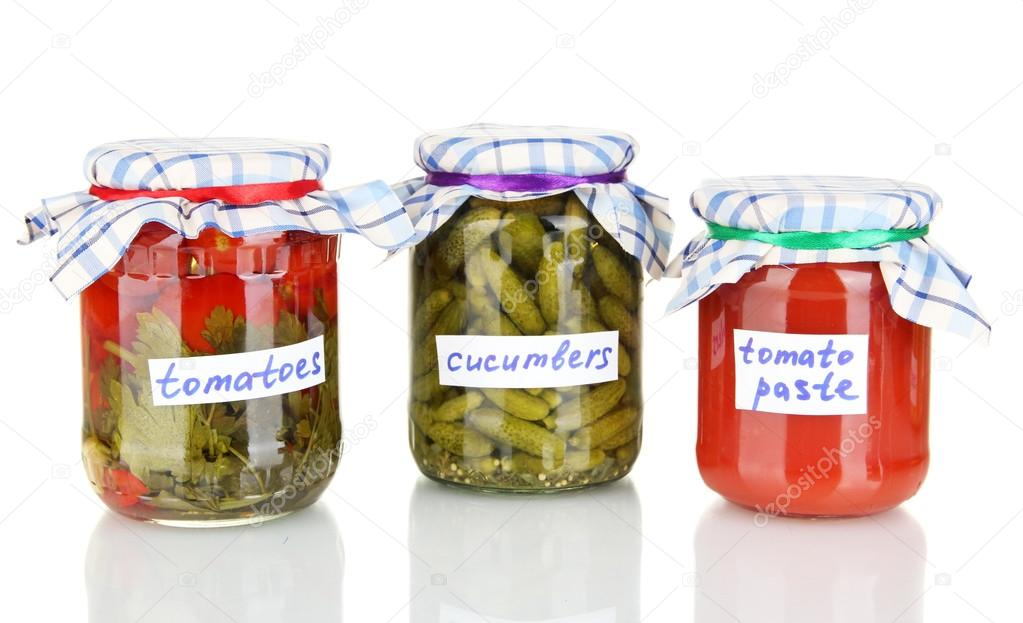 Jars with canned vegetables isolated on white — Stock Photo #13322544