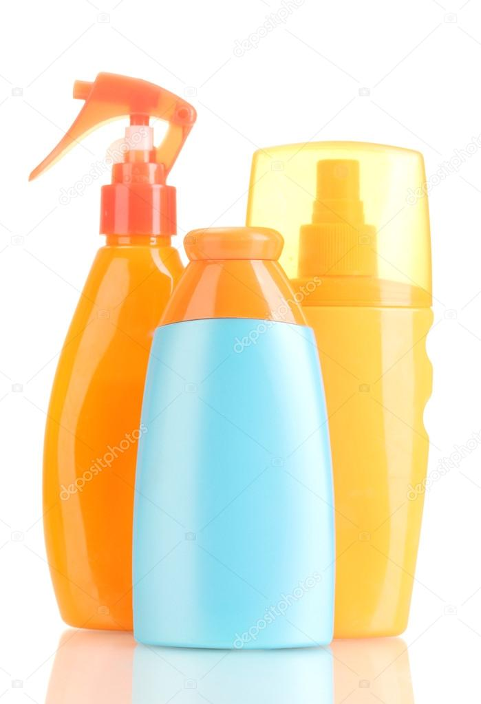 Bottles with suntan cream isolated on white  Stock Photo #13322605