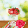 Watermelon ice cream in a glass goblet on green background close-up - Stock Photo