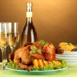 Table setting for Thanksgiving day on brown background close-up — Stock Photo #13352551