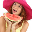 Smiling beautiful girl in beach hat with watermelon isolated on white — Stock Photo