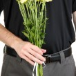 Man holding flowers close-up - Stock Photo