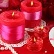Decorated candles on celebratory table close-up — Stock Photo #13353188