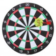 Darts with stickers depicting the life values isolated on white. The darts hit the target. — Stock Photo #13359309