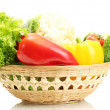 Fresh vegetables in basket isolated on white - Photo