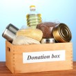 Donation box with food on blue background close-up — Stock Photo